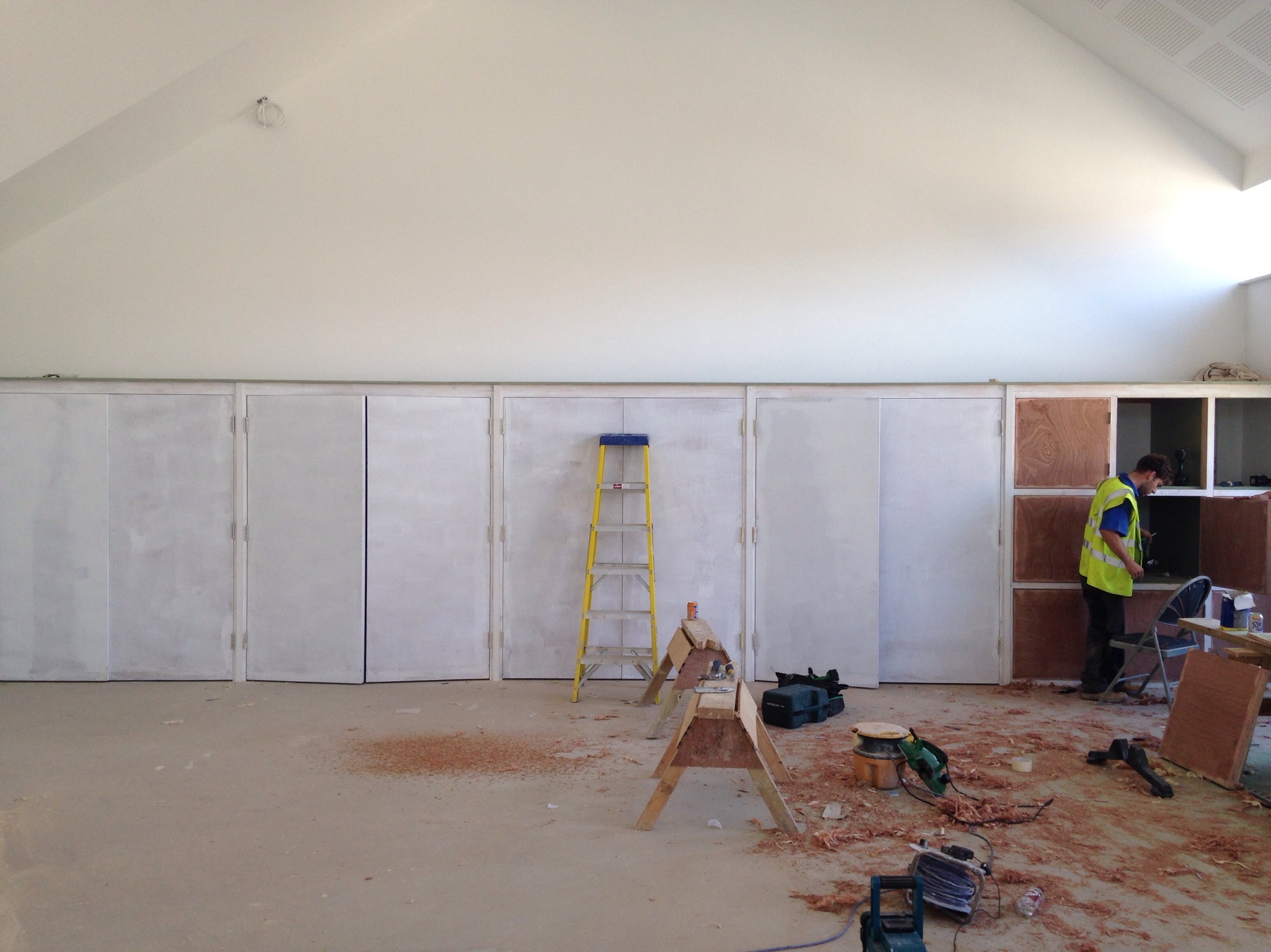 24 Aug 2016 Cupboards being fitted in new hall